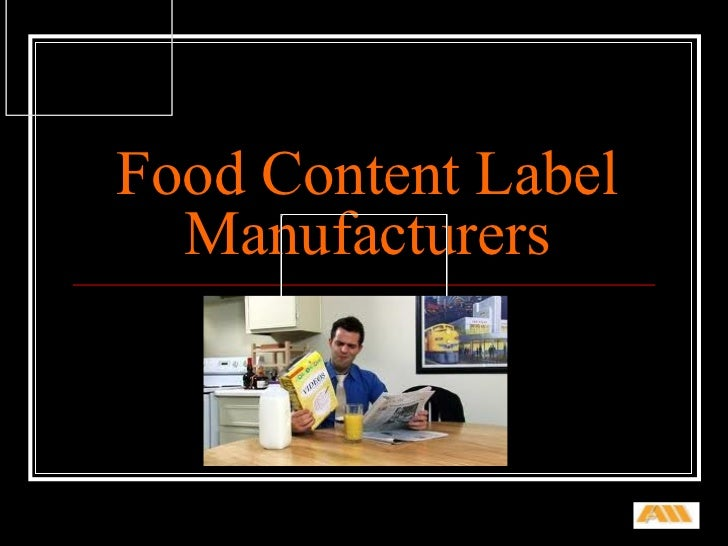 Food Content Label Manufacturers