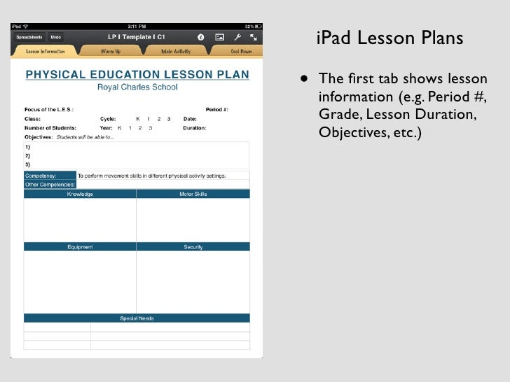 Physical Education Ipad Lesson Planing