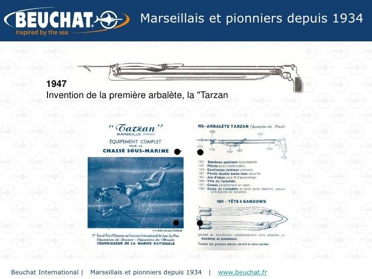"""Marseillais et pionniers depuis 1934           1947           Invention de la première arbalète, la """"TarzanBeuchat Interna..."""