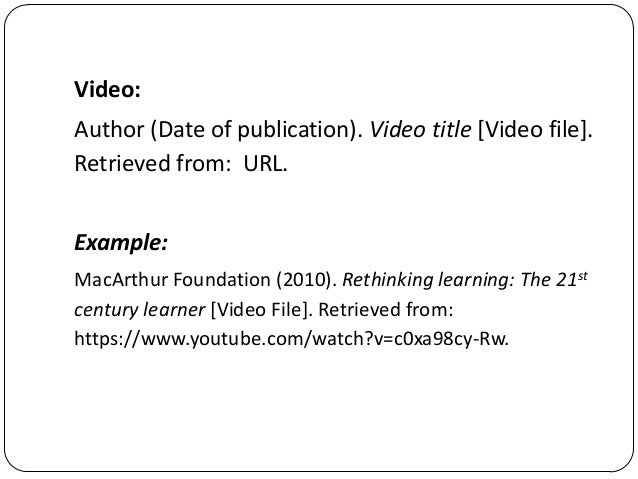how to write apa reference for video