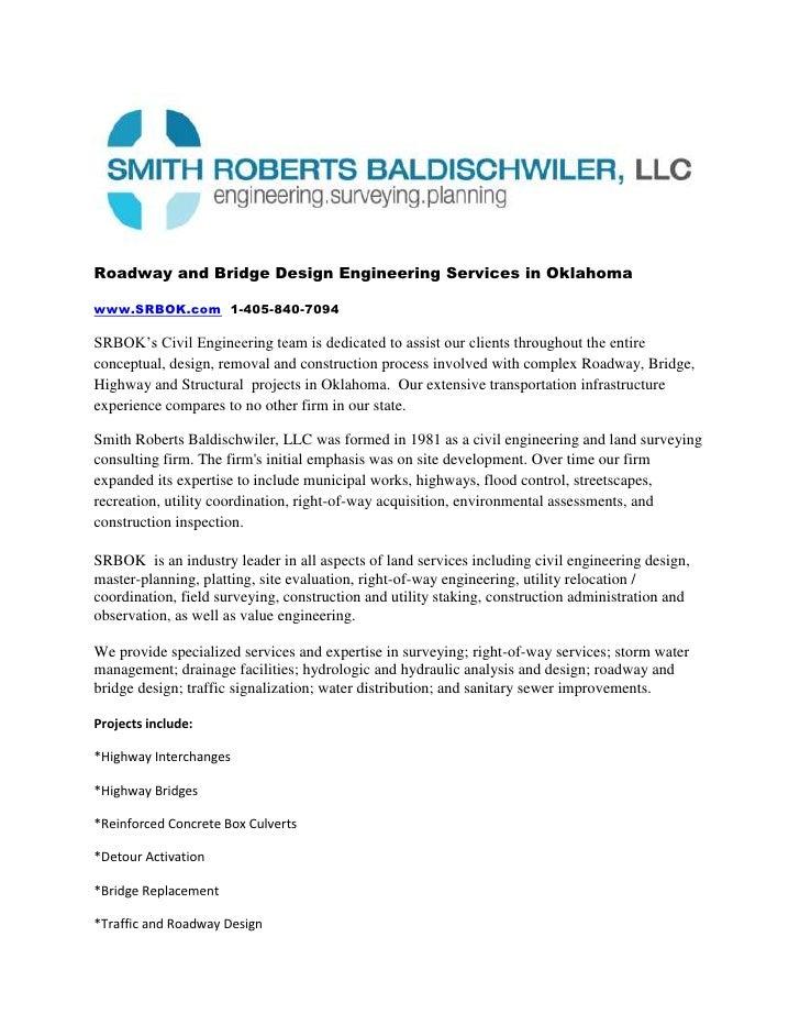 Roadway and Bridge Design Engineering Services in Oklahoma<br />www.SRBOK.com  1-405-840-7094<br />SRBOK's Civil Engineeri...