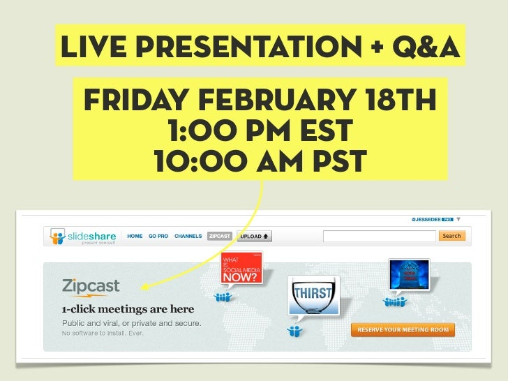 Live presentation + q&a Friday February 18th      1:00 pm est     10:00 am pst