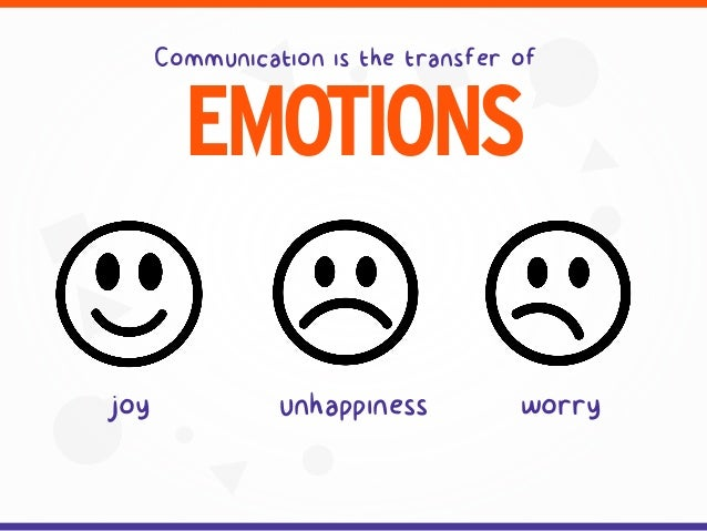 Communication is the transfer of EMOTIONS worryunhappinessjoy