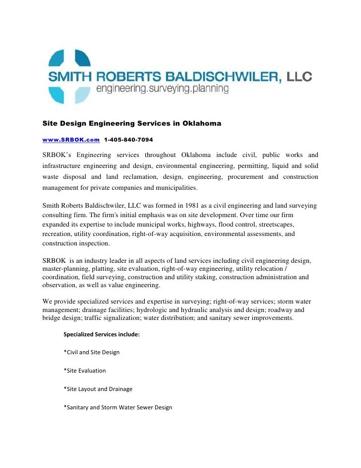 Site Design Engineering Services in Oklahoma<br />www.SRBOK.com  1-405-840-7094<br />SRBOK's Engineering services througho...