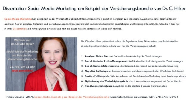 Dissertation: Social-Media-Marketing am Beispiel der Versicherungsbranche von Dr. C. Hilker Social-Media-Marketing hat sic...