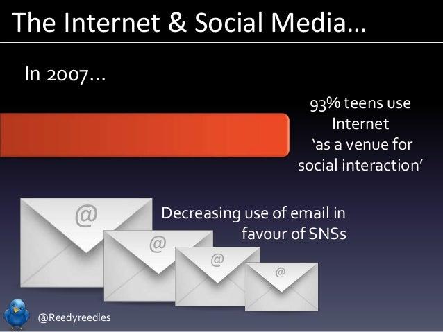 @Reedyreedles The Internet & Social Media… In 2007… 93% teens use Internet 'as a venue for social interaction' Decreasing ...