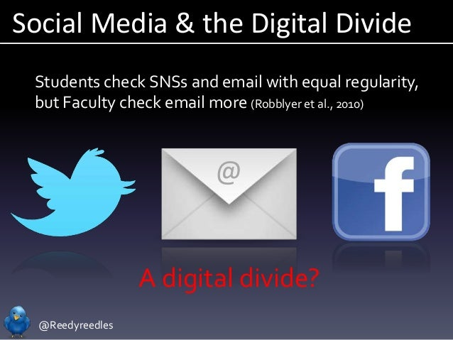 @Reedyreedles Social Media & the Digital Divide @ Students check SNSs and email with equal regularity, but Faculty check e...