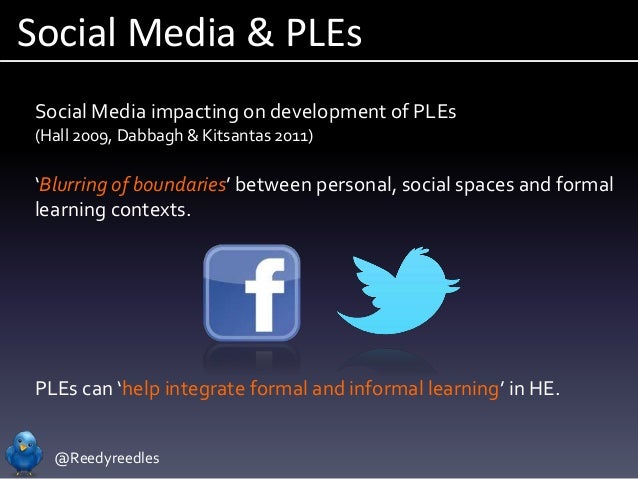 @Reedyreedles Social Media impacting on development of PLEs (Hall 2009, Dabbagh & Kitsantas 2011) 'Blurring of boundaries'...