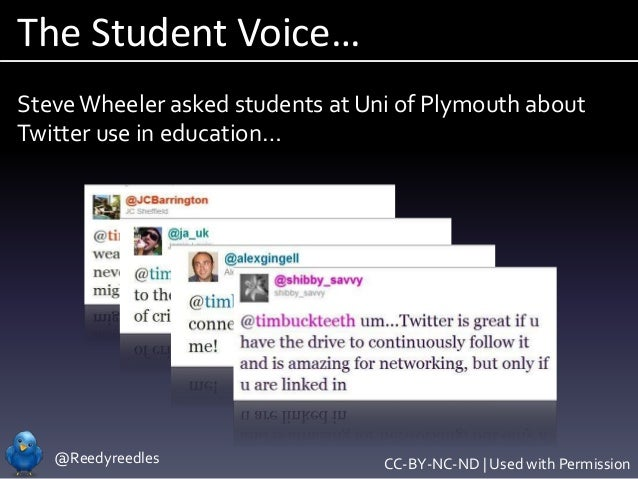 @Reedyreedles The Student Voice… SteveWheeler asked students at Uni of Plymouth about Twitter use in education… CC-BY-NC-N...