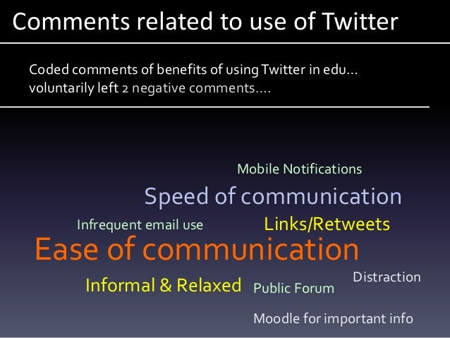 Comments related to use of Twitter Ease of communication Speed of communication Infrequent email use Mobile Notifications ...