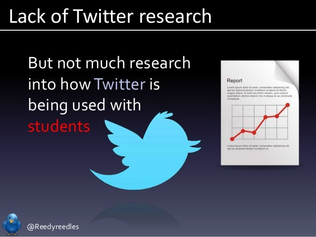 @Reedyreedles Lack of Twitter research But not much research into howTwitter is being used with students