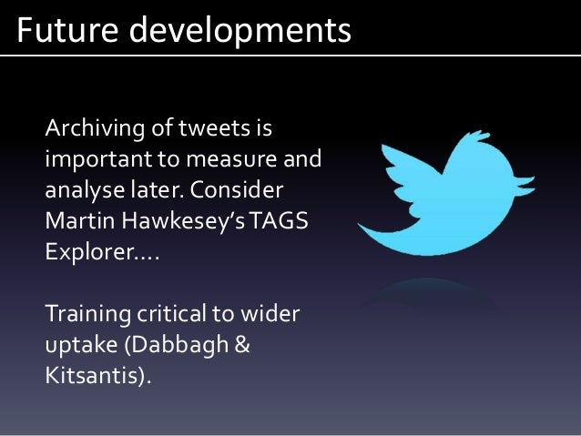 Future developments Archiving of tweets is important to measure and analyse later. Consider Martin Hawkesey'sTAGS Explorer...
