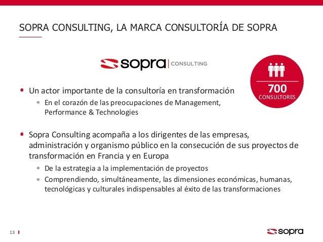 SOPRA CONSULTING, LA MARCA CONSULTORÍA DE SOPRA 13 Un actor importante de la consultoría en transformación En el corazón d...