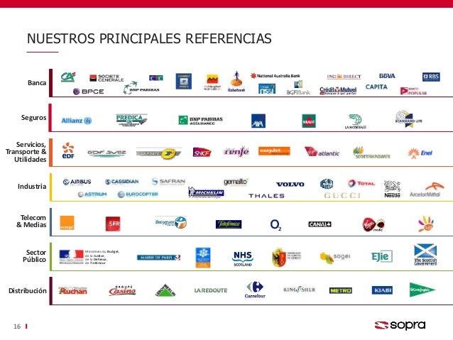 NUESTROS PRINCIPALES REFERENCIAS 16 Banca Servicios, Transporte & Utilidades Industria Sector Público Ministères du Budget...