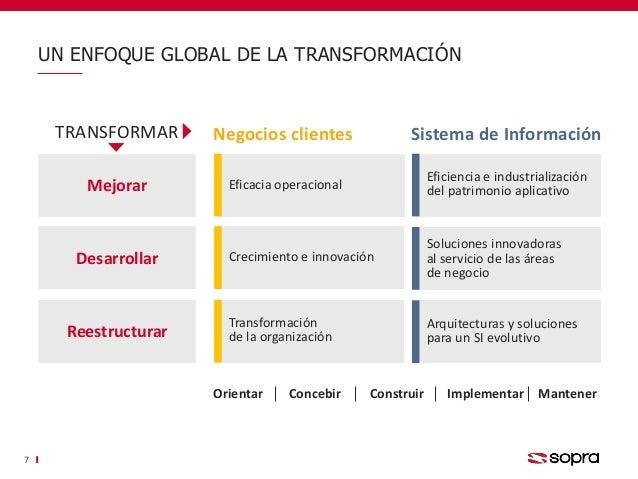 UN ENFOQUE GLOBAL DE LA TRANSFORMACIÓN 7 Negocios clientes Sistema de Información Eficacia operacional Crecimiento e innov...