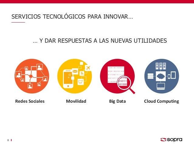 SERVICIOS TECNOLÓGICOS PARA INNOVAR… 8 Redes Sociales Movilidad Big Data Cloud Computing … Y DAR RESPUESTAS A LAS NUEVAS U...