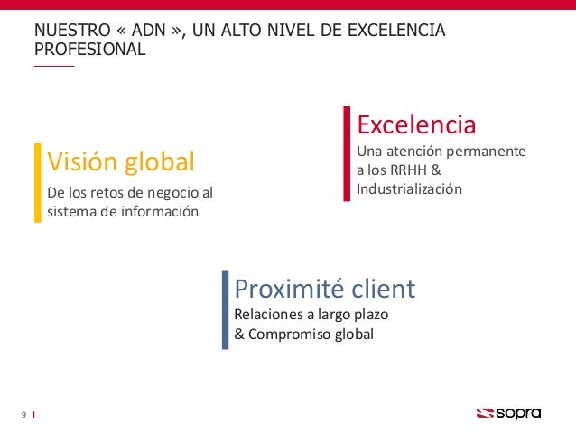NUESTRO « ADN », UN ALTO NIVEL DE EXCELENCIA PROFESIONAL 9 Visión global De los retos de negocio al sistema de información...