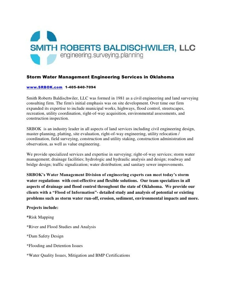Storm Water Management Engineering Services in Oklahoma<br />www.SRBOK.com  1-405-840-7094<br />Smith Roberts Baldischwile...