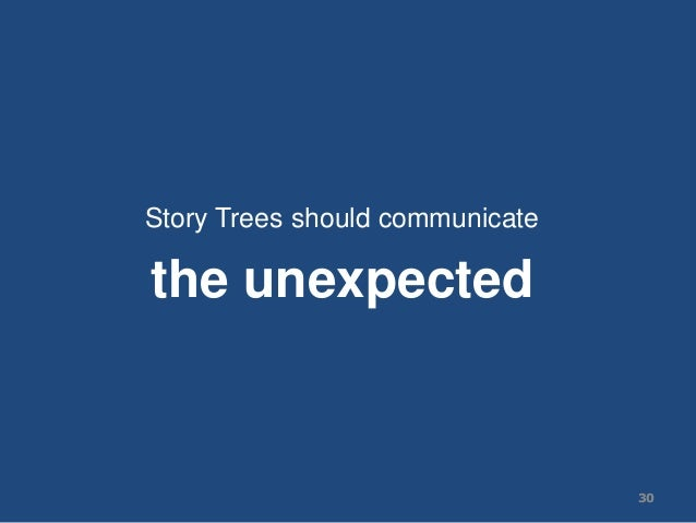 Story Trees should communicate the unexpected 30