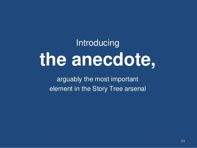 Introducing the anecdote, arguably the most important element in the Story Tree arsenal 34