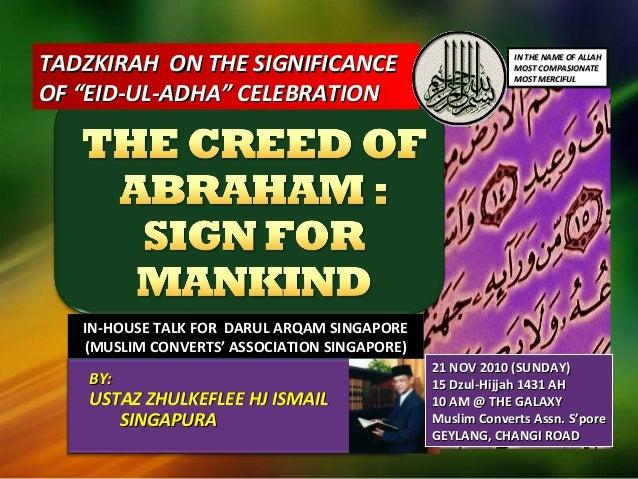 "TADZKIRAH ON THE SIGNIFICANCETADZKIRAH ON THE SIGNIFICANCE OF ""EID-UL-ADHA"" CELEBRATIONOF ""EID-UL-ADHA"" CELEBRATION IN-HOU..."