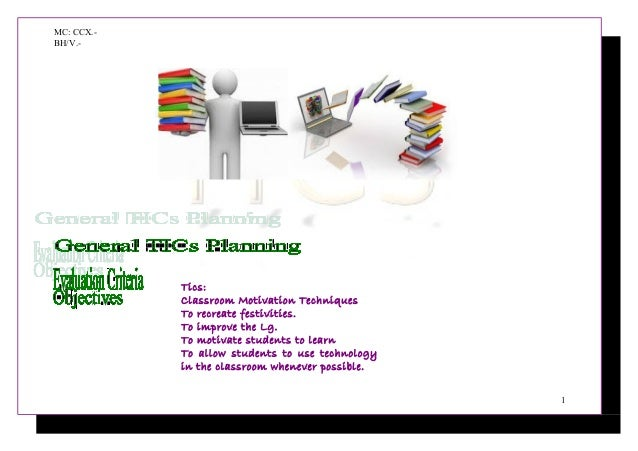MC: CCX.- BH/V.- Tics: Classroom Motivation Techniques To recreate festivities. To improve the Lg. To motivate students to...