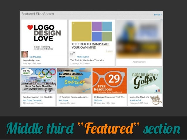 """Middle third """"Featured"""" section"""