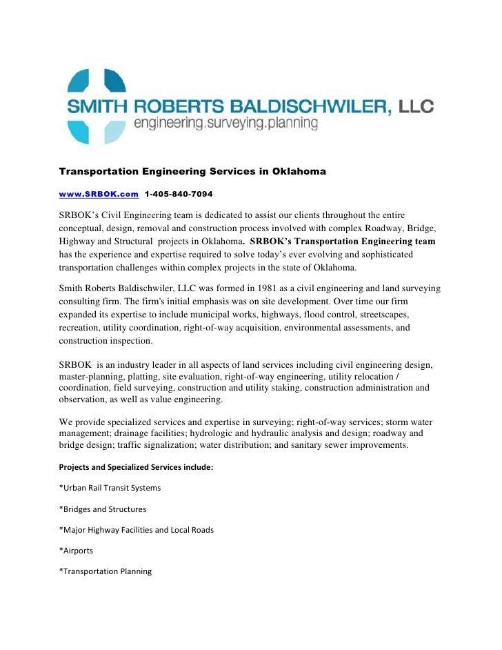 Transportation Engineering Services in Oklahoma<br />www.SRBOK.com  1-405-840-7094<br />SRBOK's Civil Engineering team is ...