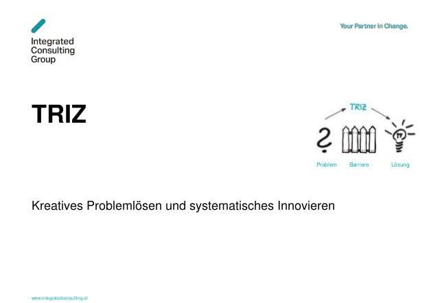 www.integratedconsulting.at 1 TRIZ Kreatives Problemlösen und systematisches Innovieren Problem Barriere Lösung