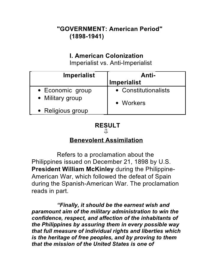"""GOVERNMENT: American Period""            (1898-1941)              I. American Colonization              Imperialist vs. An..."