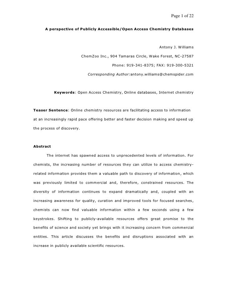Page 1 of 22        A perspective of Publicly Accessible/Open Access Chemistry Databases                                  ...
