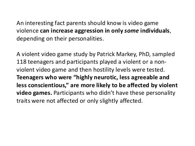 impact of violence in video games Research into the effect of violent video games on levels of aggression has led to concerns that they may pose a public health risk  indeed, cross-sectional studies have found positive correlations between violent video game play and real-life aggression [4] – [6].