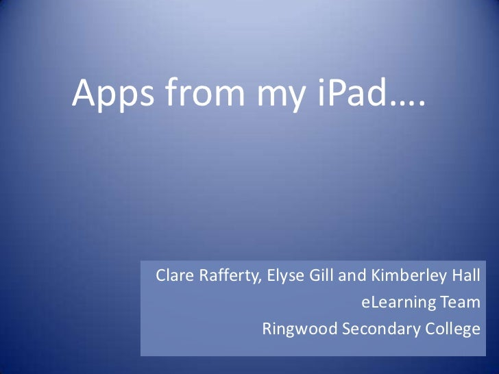 Apps from my iPad….    Clare Rafferty, Elyse Gill and Kimberley Hall                                 eLearning Team       ...