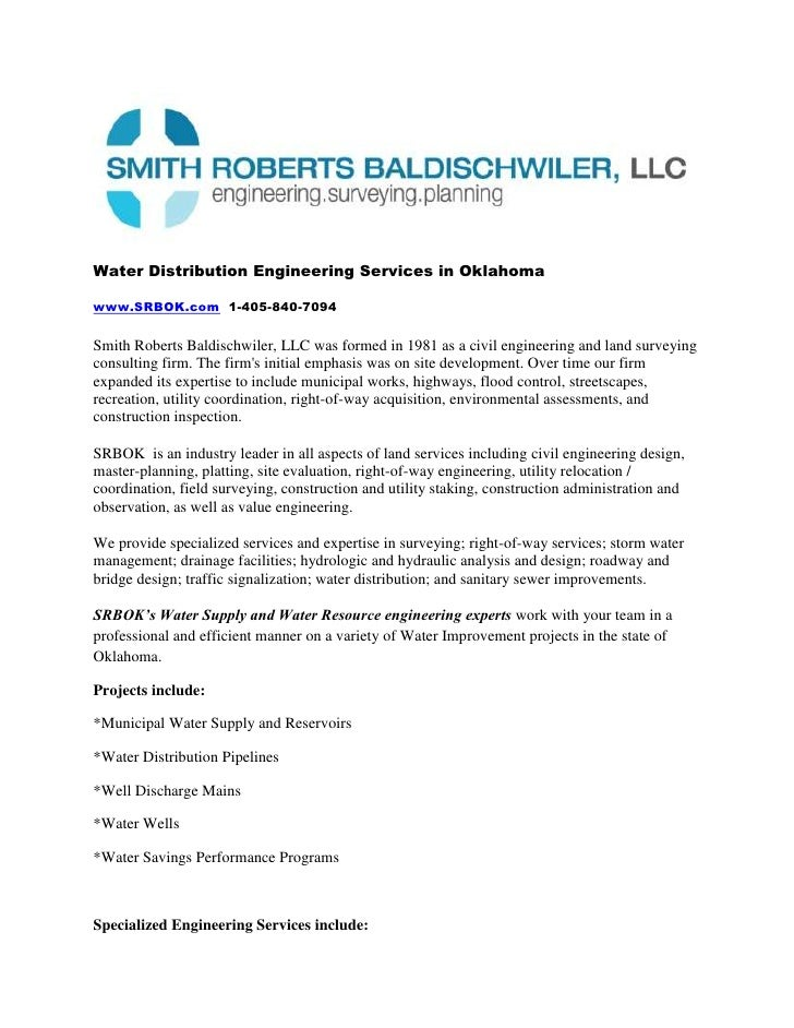 Water Distribution Engineering Services in Oklahoma<br />www.SRBOK.com  1-405-840-7094<br />Smith Roberts Baldischwiler, L...