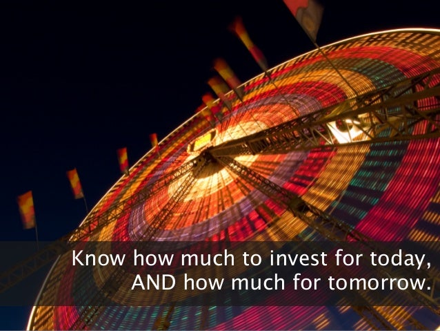All slides confidentialKnow how much to invest for today,AND how much for tomorrow.
