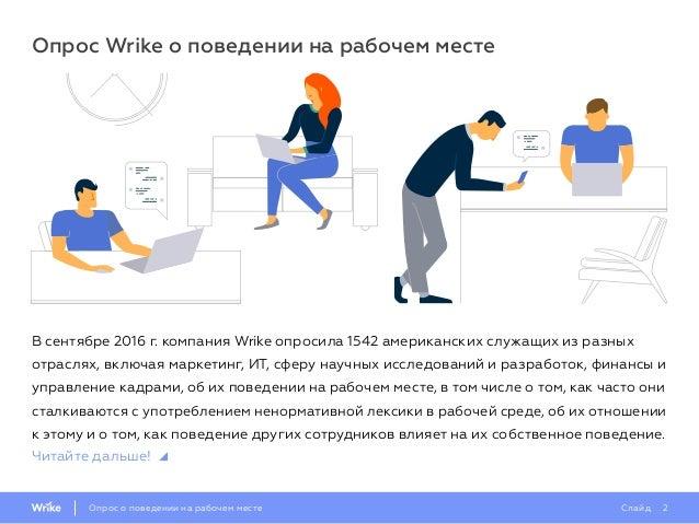 Опрос о поведении на работе за 2016 г. Slide 2