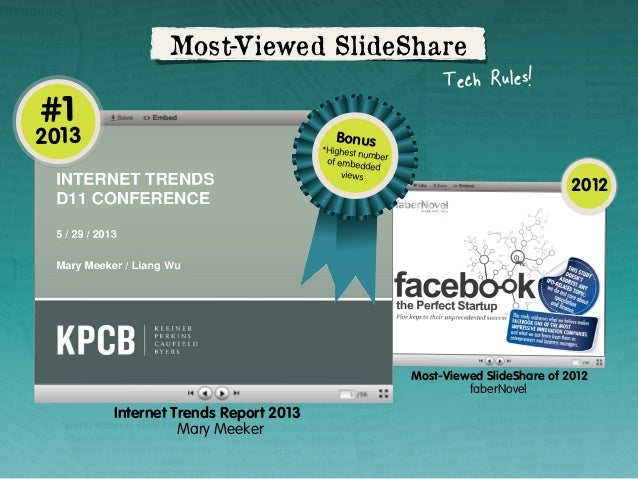 #1  Most-Viewed SlideShare Tech Rules!  2013  Bonus  *Highest n umber of embed ded views  2012  Most-Viewed SlideShare of ...