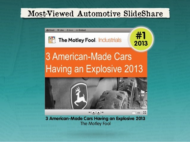 Most-Viewed Automotive SlideShare  #1  2013  3 American-Made Cars Having an Explosive 2013 The Motley Fool