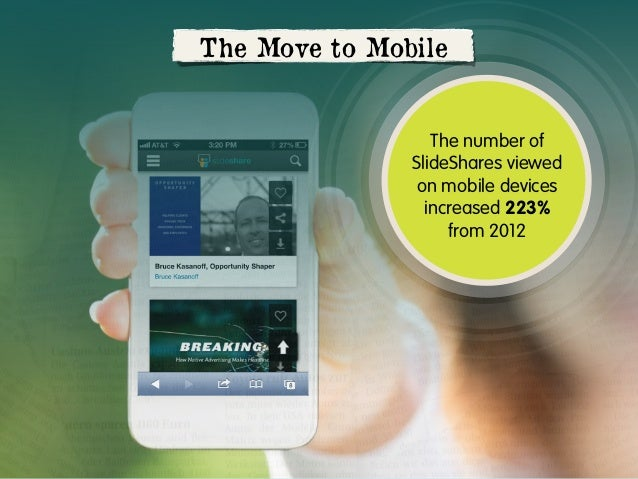 The Move to Mobile  The number of SlideShares viewed on mobile devices increased 223% from 2012