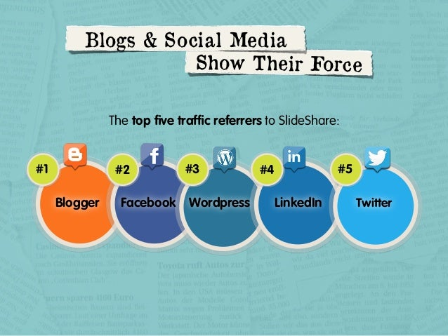 Blogs & Social Media Show Thei r Force The top five traffic referrers to SlideShare:  #1  #2  Blogger  #3  Facebook Wordpres...