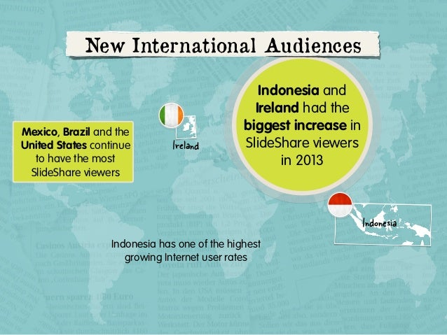 New International Audiences  Mexico, Brazil and the United States continue to have the most SlideShare viewers  Ireland  I...