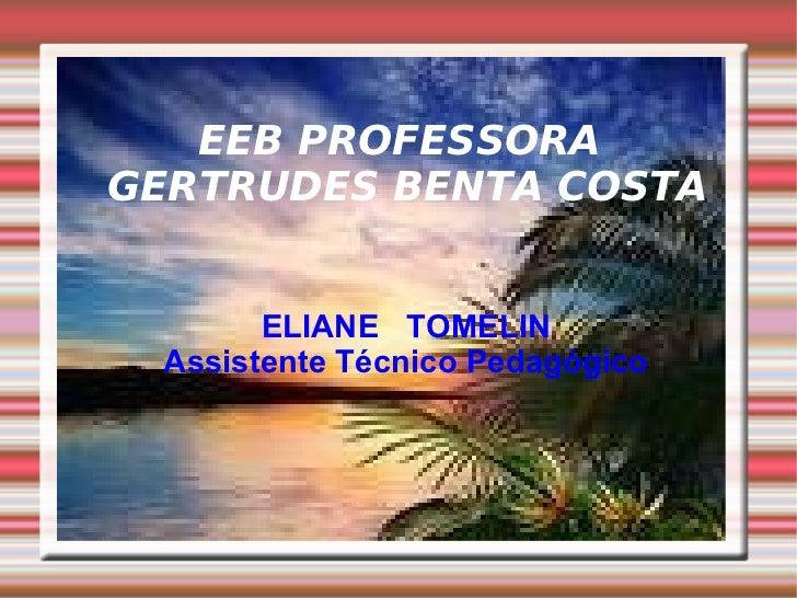 EEB PROFESSORA GERTRUDES BENTA COSTA <ul><ul><li>ELIANE  TOMELIN </li></ul></ul><ul><ul><li>Assistente Técnico Pedagógico ...