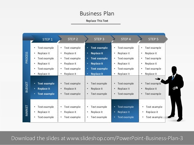 Replace This Text 1 I Business Plan BUDGETMARKETPROCESS • Text example • Replace it • Text example • Replace it • Text exa...