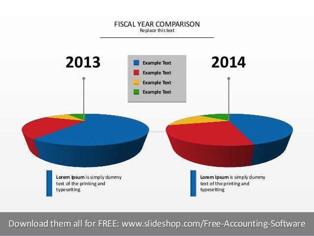 FISCAL YEAR COMPARISON Replace this text  2013  Example Text Example Text  2014  Example Text Example Text  Lorem Ipsum is...