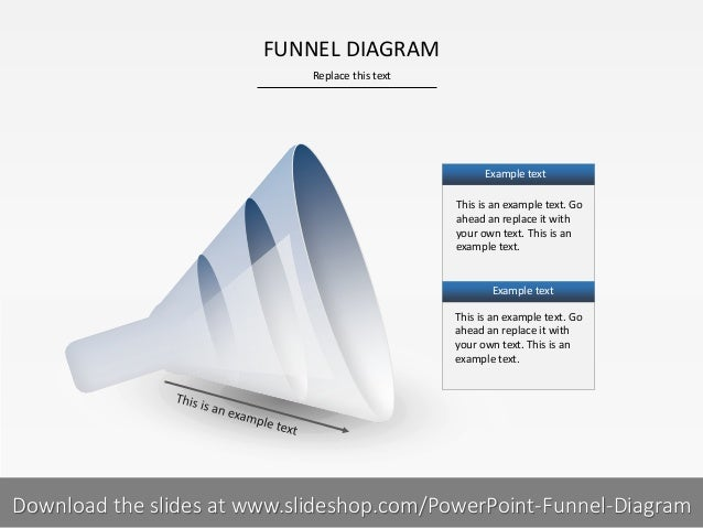 Replace this text 1 I FUNNEL DIAGRAM This is an example text. Go ahead an replace it with your own text. This is an exampl...
