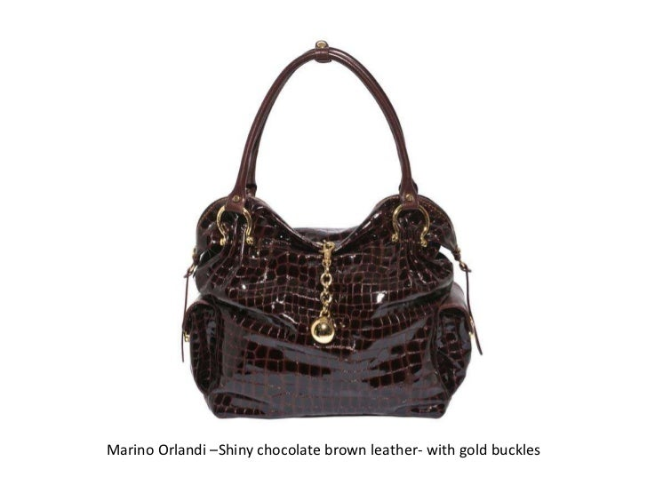 Marino Orlandi –Shiny chocolate brown leather- with gold buckles<br />