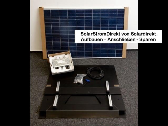 SolarStromDirekt von Solardirekt Aufbauen – Anschließen - Sparen