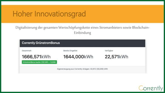 Digitalisierung der gesamten Wertsch�pfungskette eines Stromanbieters sowie Blockchain- Einbindung Hoher Innovationsgrad