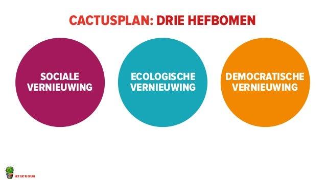 het cactusplan  cactusplan: drie hefbomen  Sociale  vernieuwing  Ecologische  vernieuwing  Democratische  vernieuwing