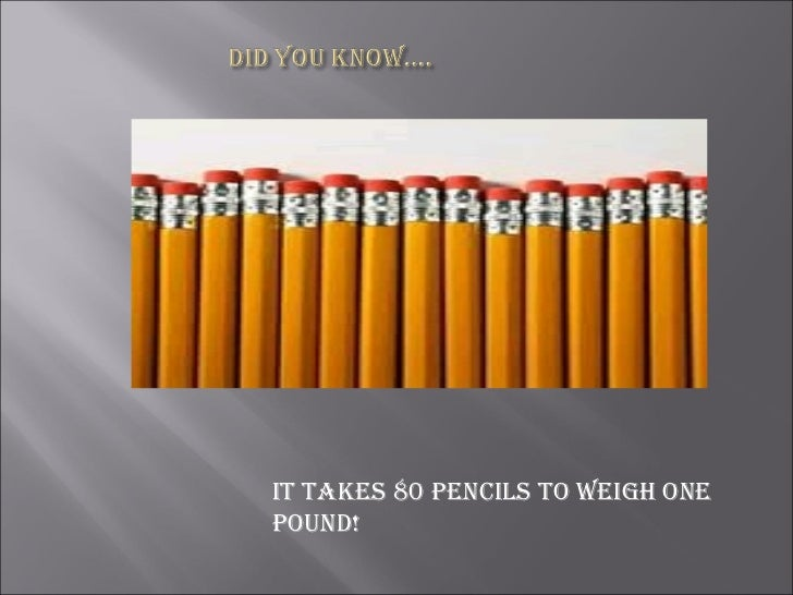 It takes 80 pencils to weigh one pound!